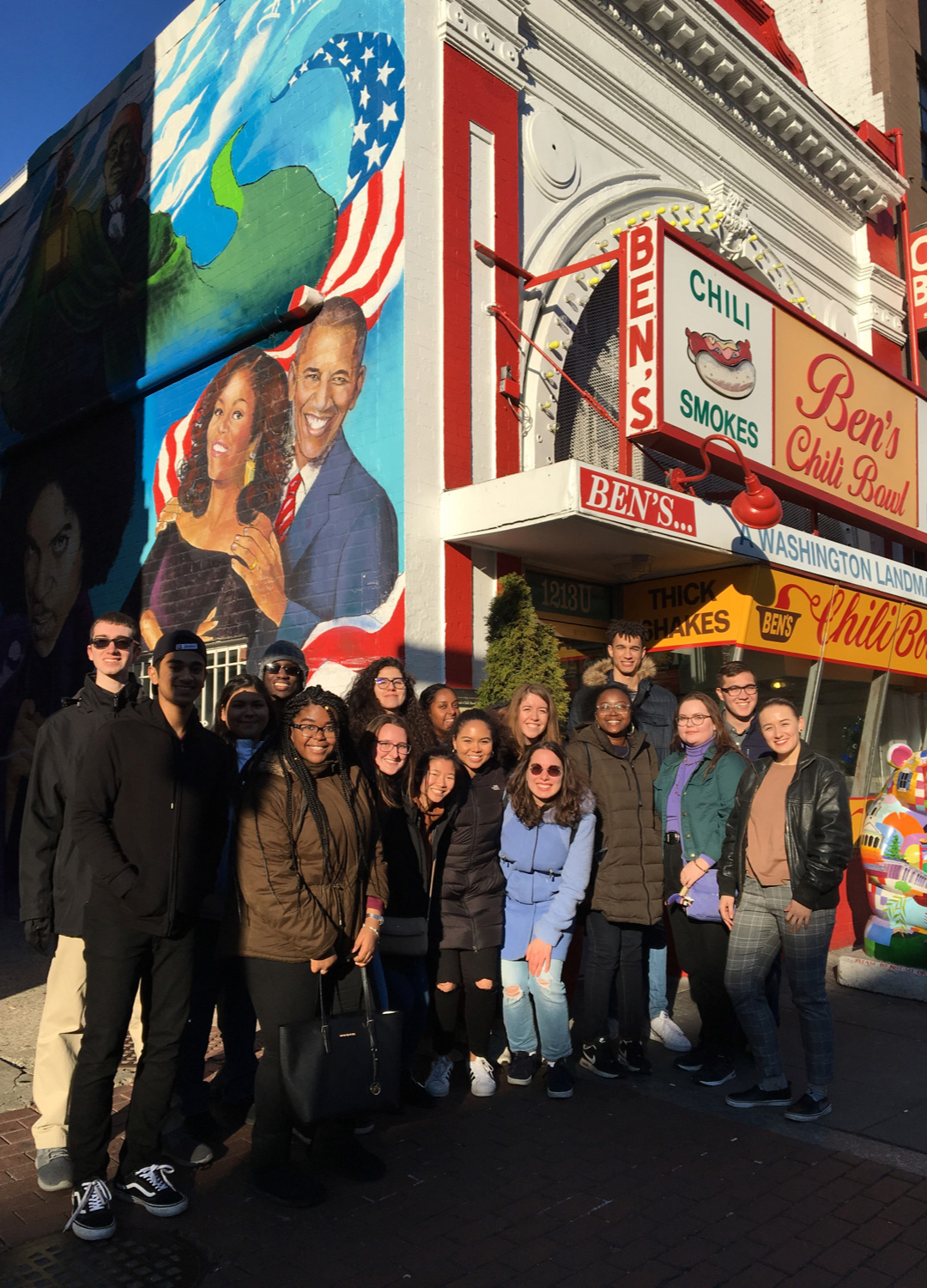 Students outside Ben's Chili Bowl