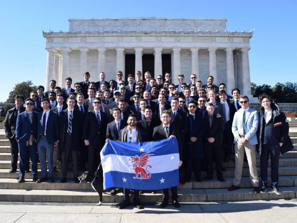 Members of Beta Theta Pi standing in front of the Lincoln Memorial