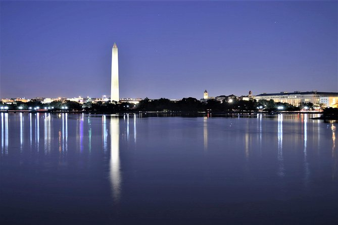 View of DC monuments at night.