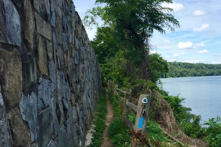 View of the Potomac heritage trail and the rock wall.