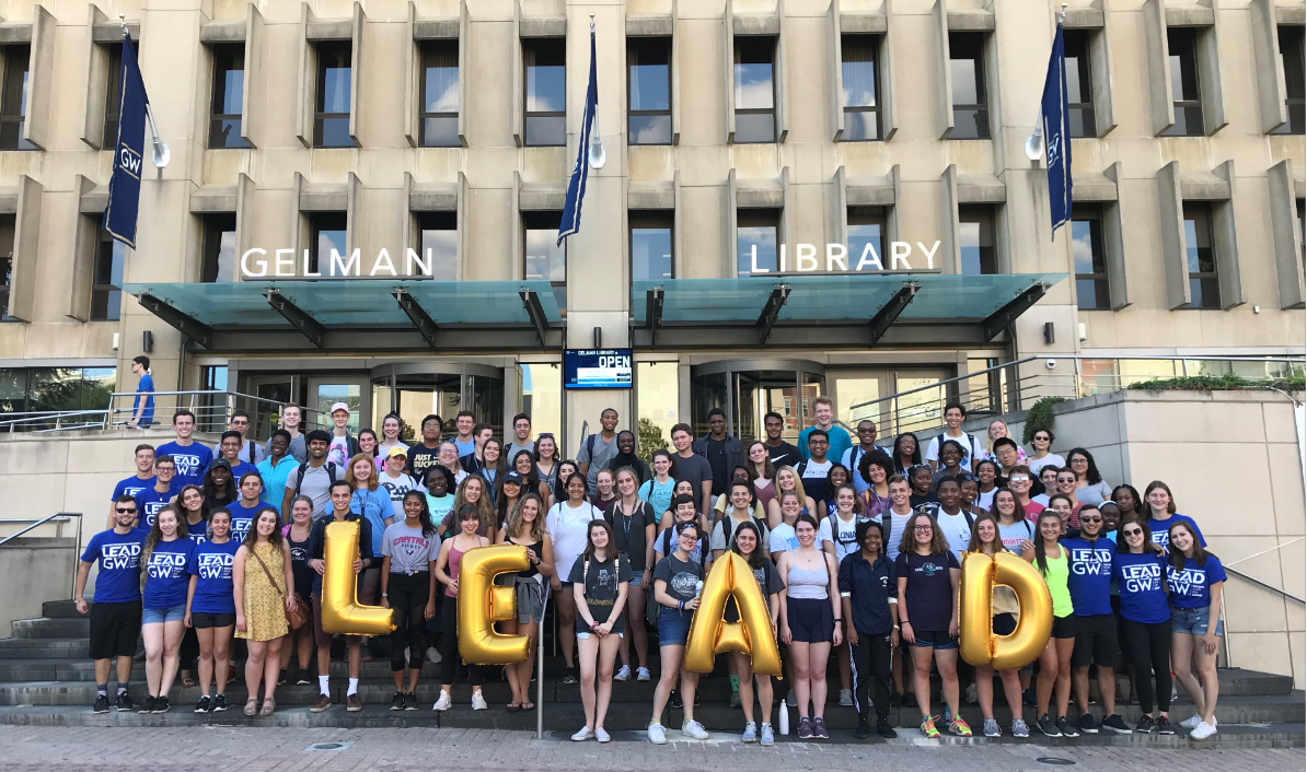 Photo of 80+ LEAD participants in front of Gelman Library.