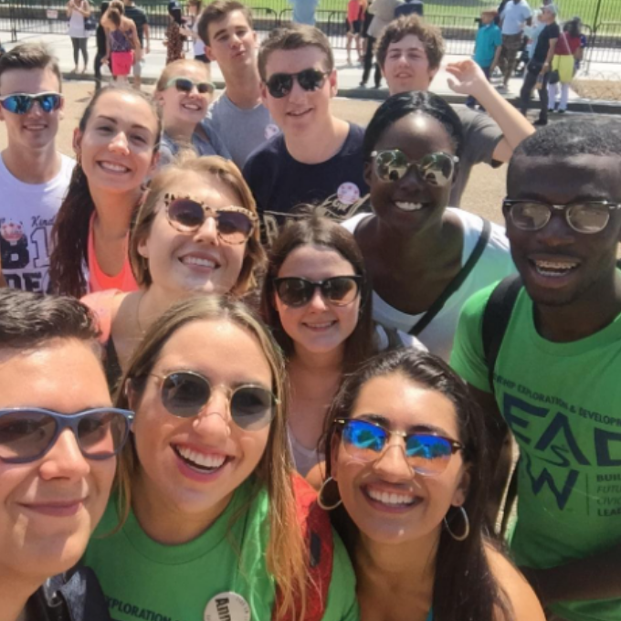 Students taking a group selfie