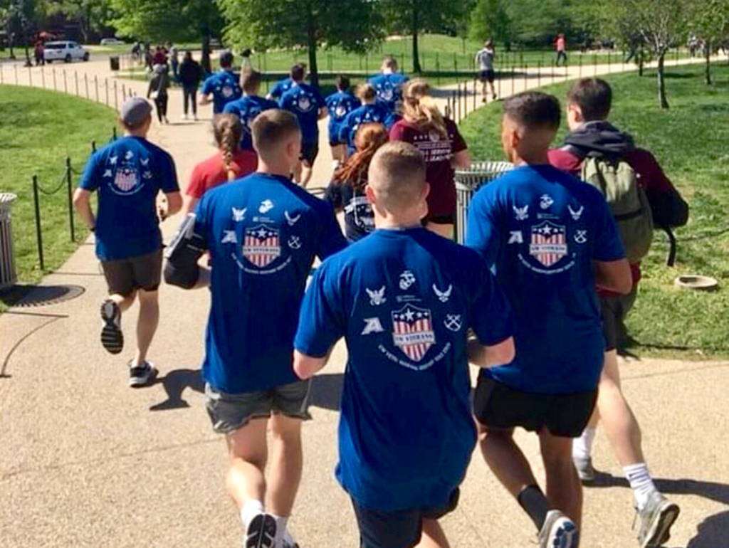 Military students running in the M4 Race on the National Mall