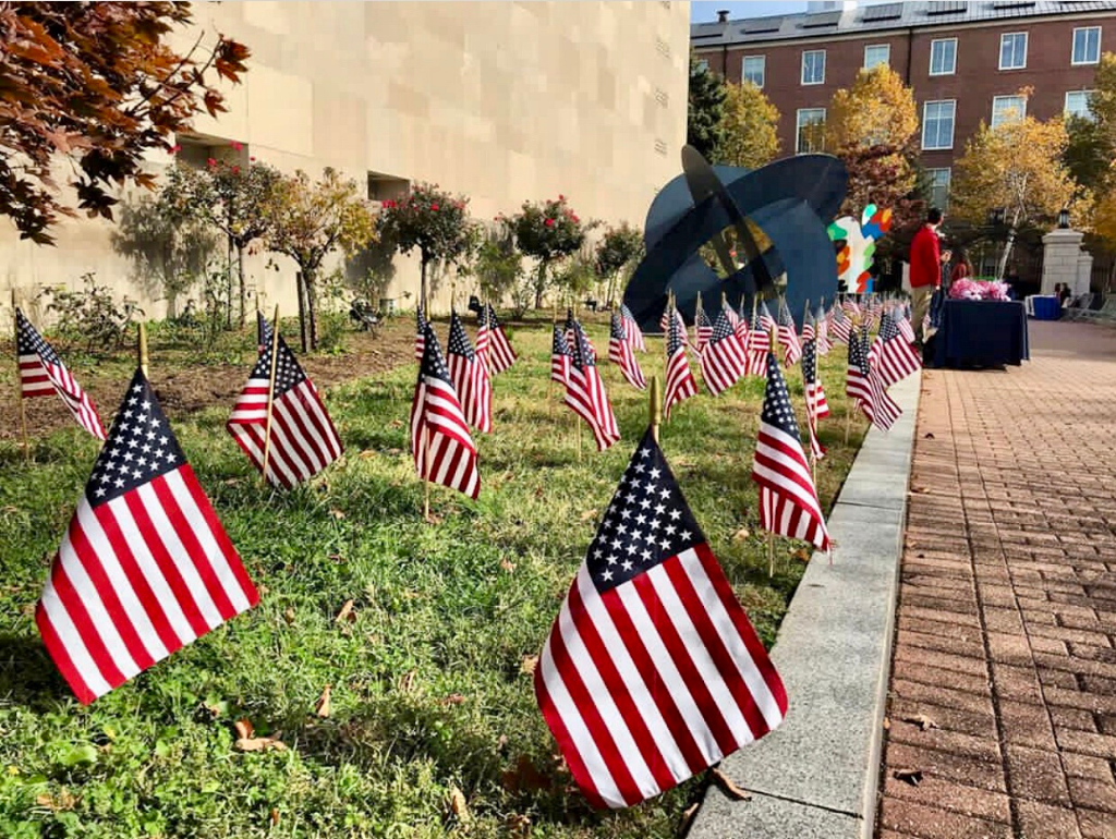 A display of mini American Flags in the grass on tabling row