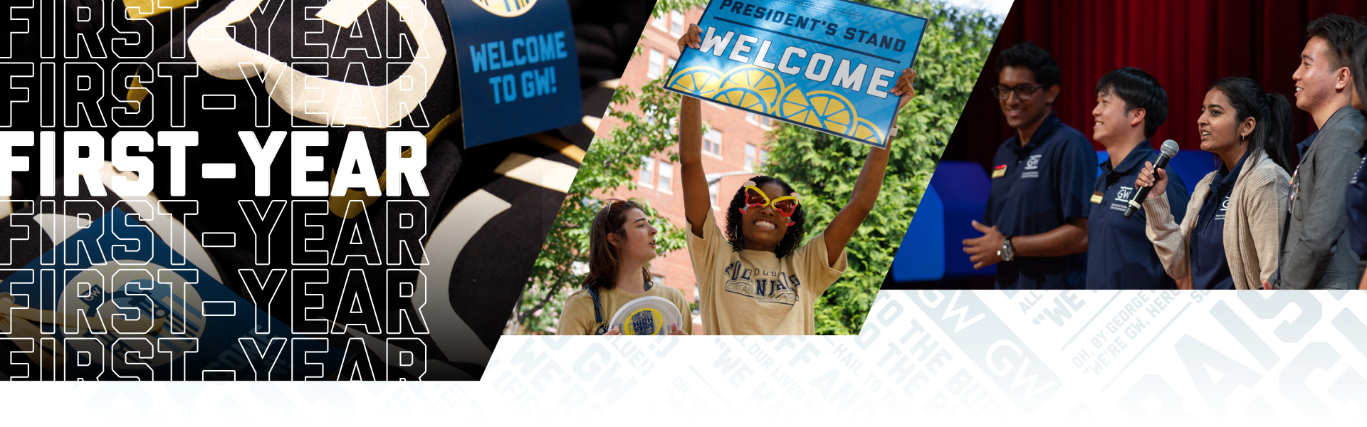 First-Year; student with welcome sign, students with microphone