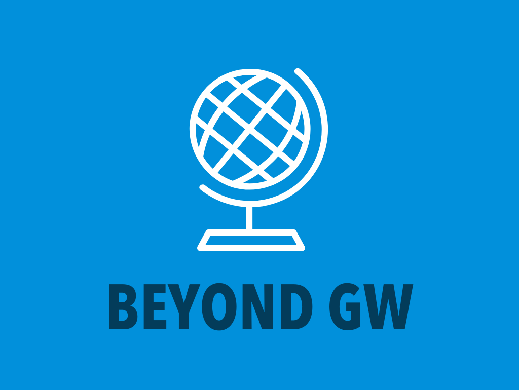"Blue background, white globe icon, and navy text reading ""Beyond GW"""