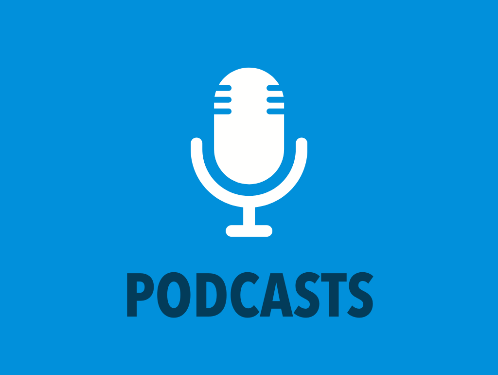 "Blue background, white microphone icon, and navy text reading ""Podcasts"""