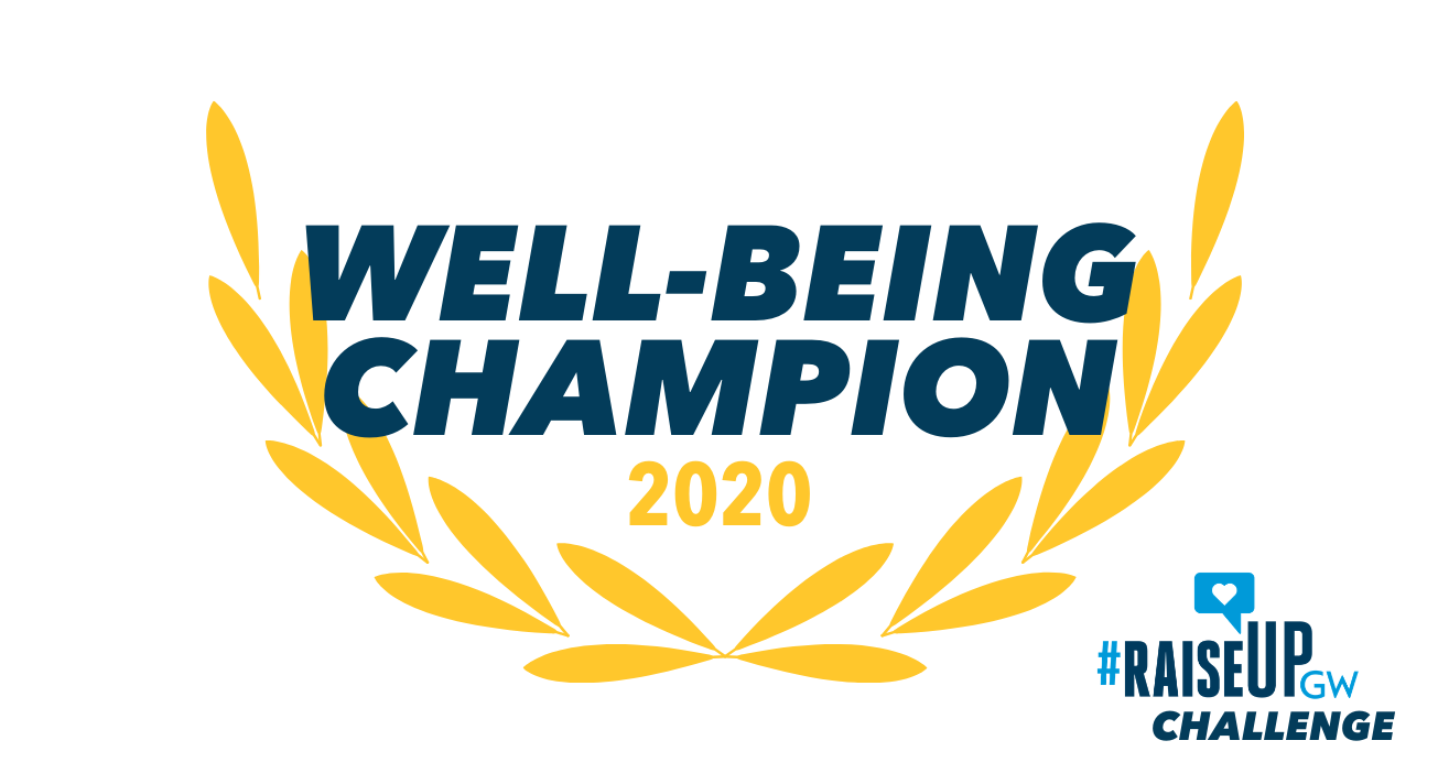 Yellow leaves surrounding text that says Well-being Champion in blue. Raise Up Challene logo in bottom right-hand corner