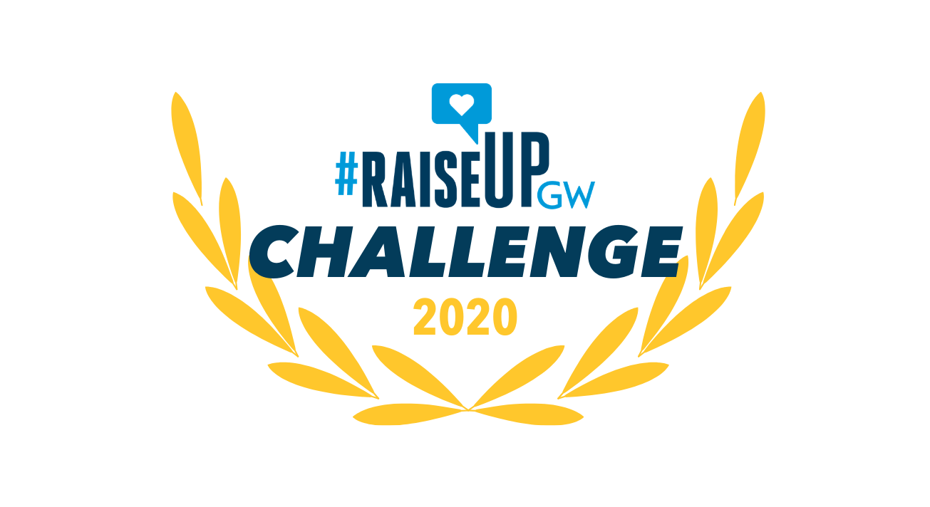 "Raise Up GW logo surrounded by yellow leaves and text reading ""Raise Up Challenge 2020"" in blue and yellow"