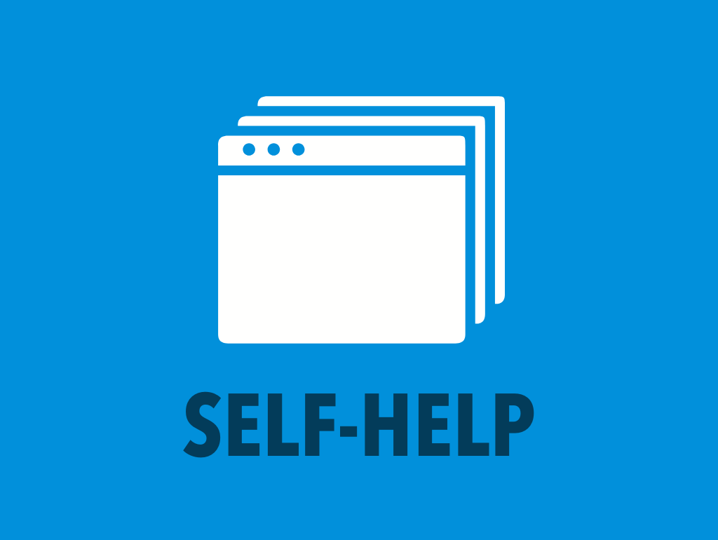 "Blue background, white webpage icon, and navy text reading ""Self-Help"""
