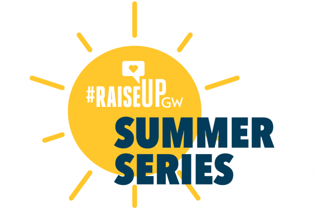 White Raise Up GW logo on a yellow sun with Summer Series in dark blue underneath